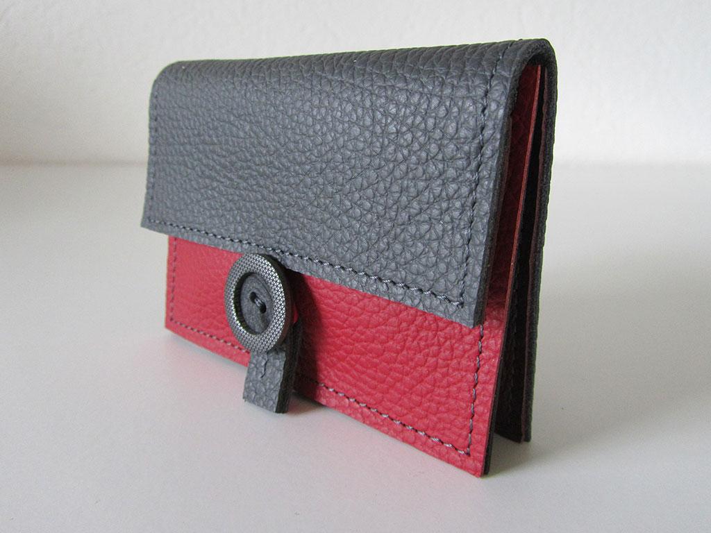 Portemonnee 2-vks grijs-rood