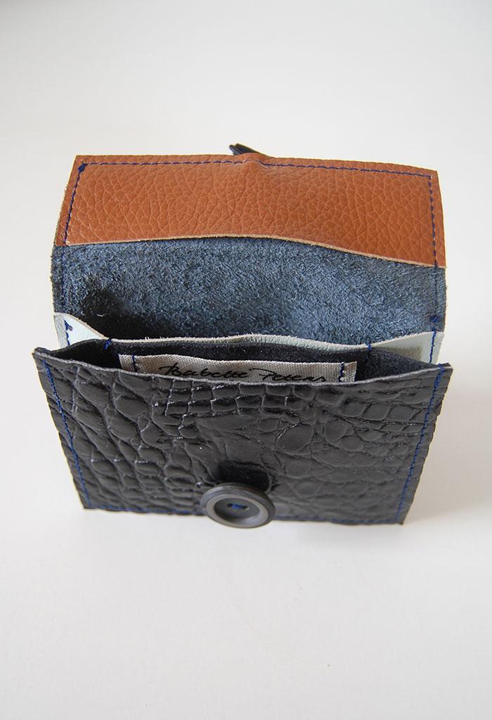 Portemonnee 2-vks zwart-blauw