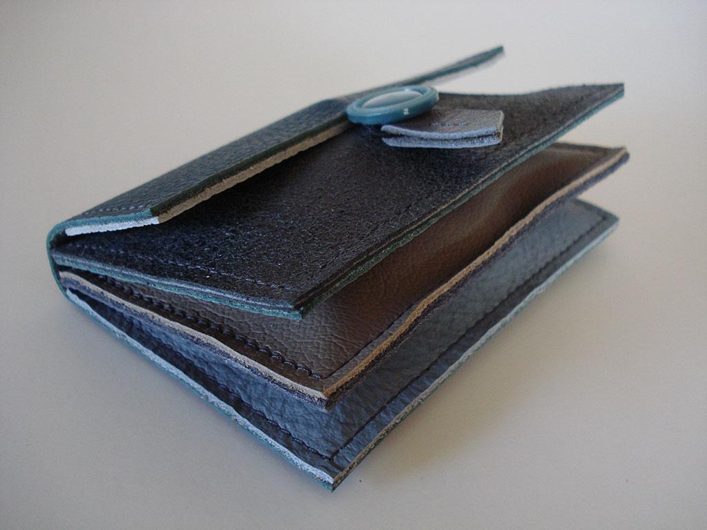 Portemonnee 3-vks grijs-petrol